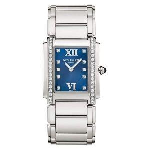 reloj patek philippe twenty-4, de oro blanco de 18 k y acero inoxidable, con diamantes, para mujer