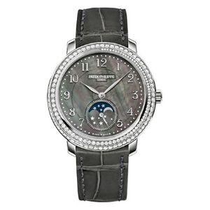 reloj patek philippe complications 4968G-001, de oro blanco de 18 k con diamantes y correa de piel, para mujer