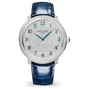reloj patek philippe calatrava 4978-400G-001, de oro blanco de 18 k con diamantes y correa de piel, para mujer