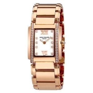 reloj patek philippe twenty-4, de oro rosa de 18 k con diamantes, para mujer